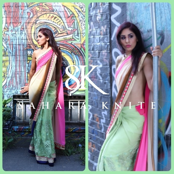 Two pictures of sahara knite a slim brunette girl in traditional indian dress