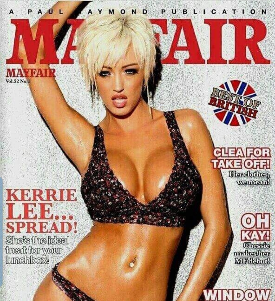 kerrie lee slim busty blonde short hair in black patterned bikini posing for a magazine showing curves
