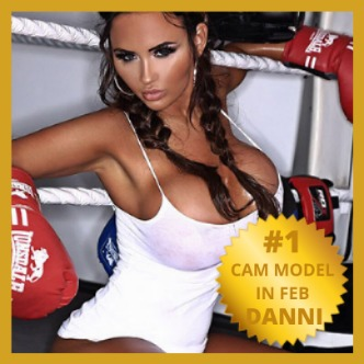 danni levy huge breasts in a white vest top hair blonde hair in pigtails wearing boxing gloves in a boxing ring