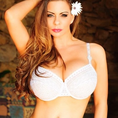 Linsey Dawn Mckenzie big busty brunette in a white bra slim figure